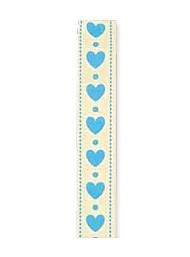 Cupido & Company - Ribbon with Light Blue Hearts - 25mt