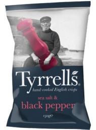 (6 PACKS X 150g) Tyrrels - Black Pepper Potato Crisps -150g