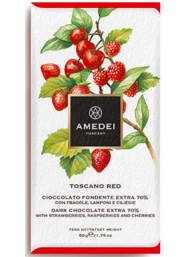 Amedei - Dark Chocolate with Strawberry, Raspberry and Cherries - 50g