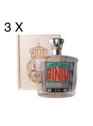 (3 BOTTIGLIE) Silvio Carta - Gin Giniu - Ginepro Sardo - Astucciato in Legno - 70cl
