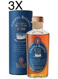 (3 BOTTLES) Sibona - Grappa Riserva - Honed in barrels of Rum - 50cl
