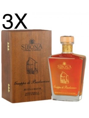 (3 BOTTIGLIE) Sibona - Grappa di Barbaresco 2008 - 70cl - Astucciata in legno