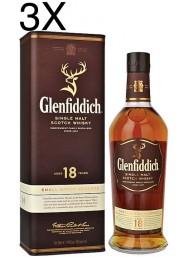 (3 BOTTLES) Glenfiddich - Single Malt Scotch Whisky - 18 anni - 70cl - Astucciato