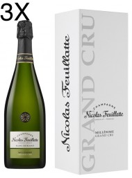 (3 BOTTLES) Nicolas Feuillatte - Grand Cru Chardonnay Vintage 2012 - Blanc de Blancs - Champagne - 75cl - Gift Box