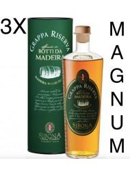 (3 BOTTIGLIE) Sibona Magnum 1,5 lt - Grappa Riserva - Affinata in Botti da Madeira