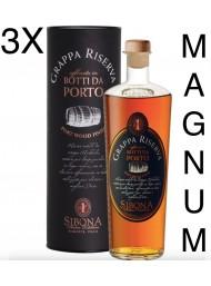 (3 BOTTLES) Sibona Magnum 1,5 lt - Sibona - Grappa Reserve Port wood finish - 150cl