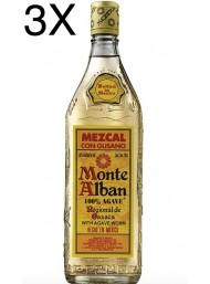 (3 BOTTLES) Monte Alban - Mezcal - 100% Agave - Gusano - Agave Worm - 70cl