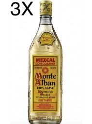 (3 BOTTIGLIE) Monte Alban - Mezcal - 100% Agave - Gusano - Agave Worm - 70cl