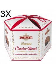 (3 PANETTONI X 1000g) Bonifanti - Panettone Classico Glassato